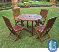 Acacia 5-piece Stowaway Patio Furniture Set - Patio Table