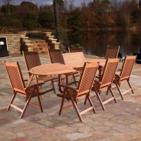 Vifah V144SET2 Wood 9-Piece Patio Dining Set with Oval ...