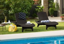 Keter 2pc Rattan Outdoor Chaise Lounge Chairs - Patio Table