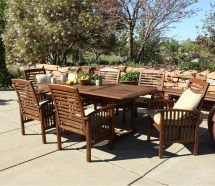 Walker Edison 7-piece Acacia Wood Patio Dining Set With