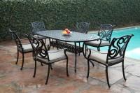 CBM Outdoor Cast Aluminum 7 Piece Dining Set G with ...