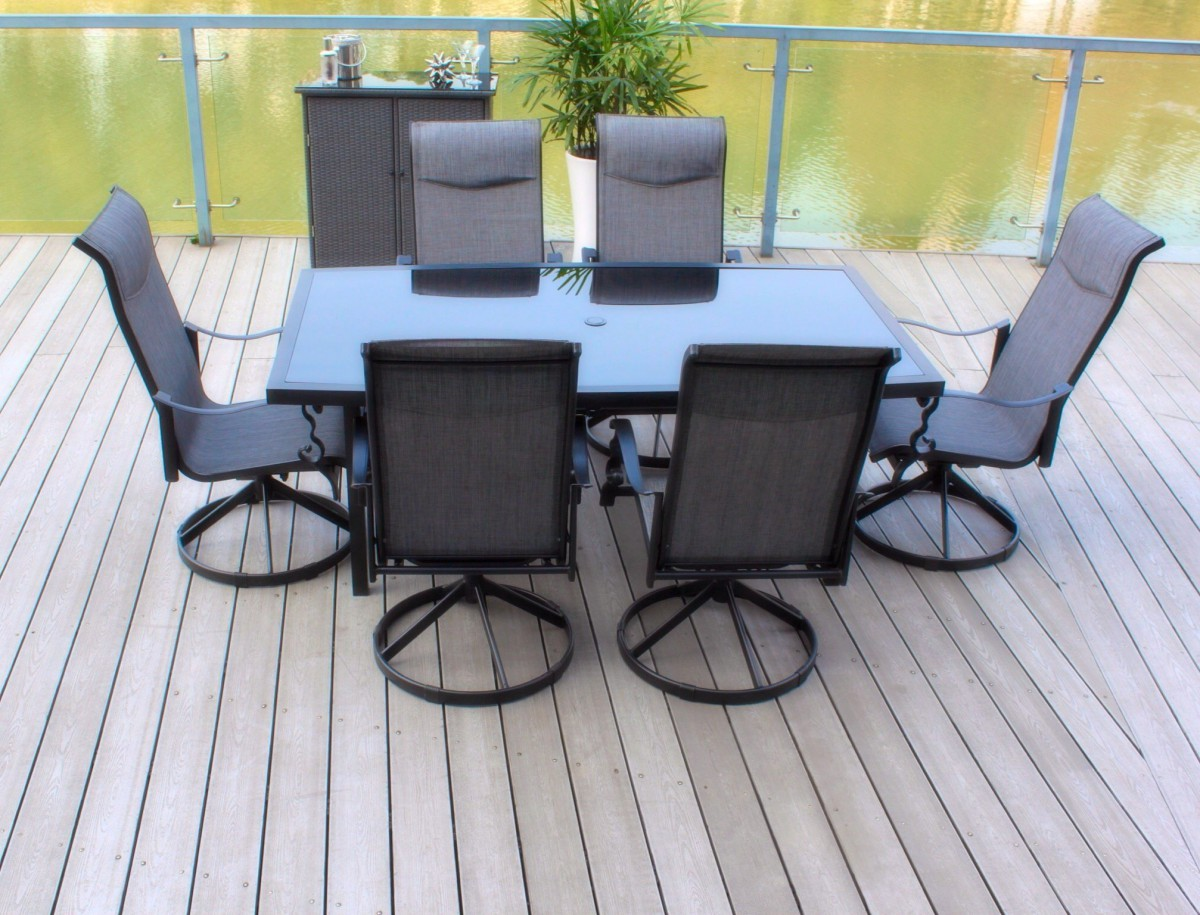 table with swivel chairs alps mountaineering camp chair pebble lane living 7 piece patio dining set cast