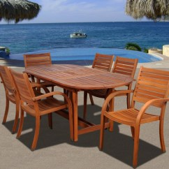 Outdoor Table And Chairs Wood Toddler Beach Chair Personalized Amazonia Arizona 7 Piece Dining Set With 83