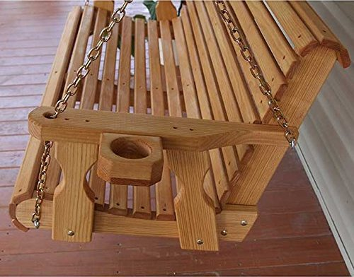 swing chair with stand amazon wheelchair bedford amish heavy duty 5ft outdoor wooden porch set w/ cupholders