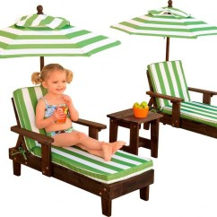 Child Patio Chair Seat Covers Wedding Kidkraft Outdoor Chaise Lounge Chairs And Umbrella Set