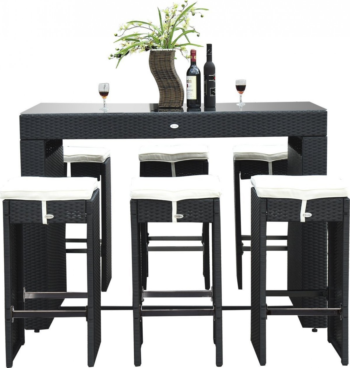 Outsunny 7 Piece Rattan Wicker Bar Stool Dining Table Set