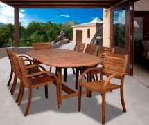 Arizona 9 Piece Wood Outdoor Dining Set With 93
