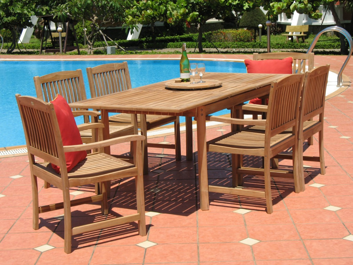 Merveilleux Pebble Lane Living 7 Piece Teak Patio Dining Set   Table