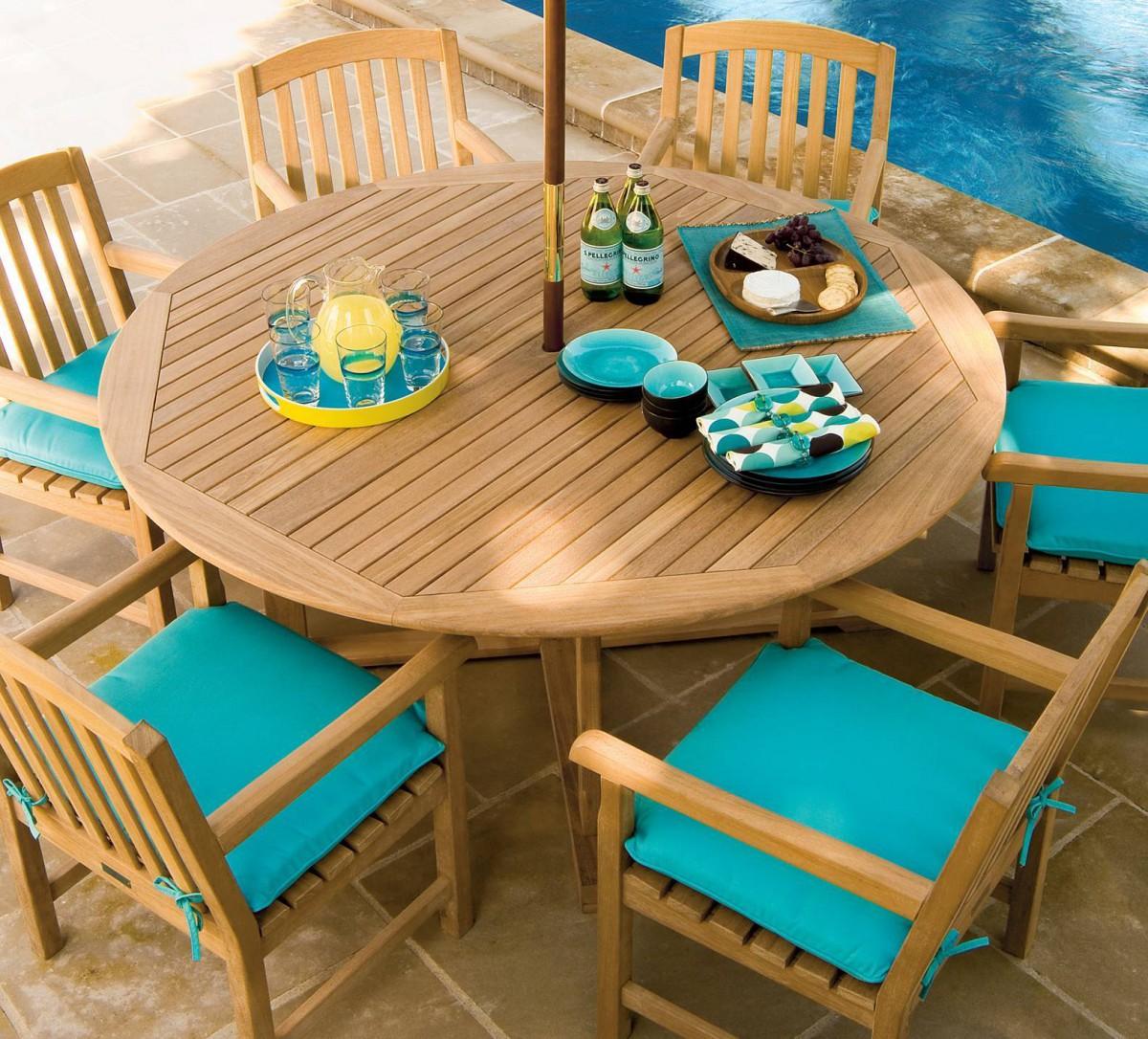 oxford garden round shorea outdoor teak