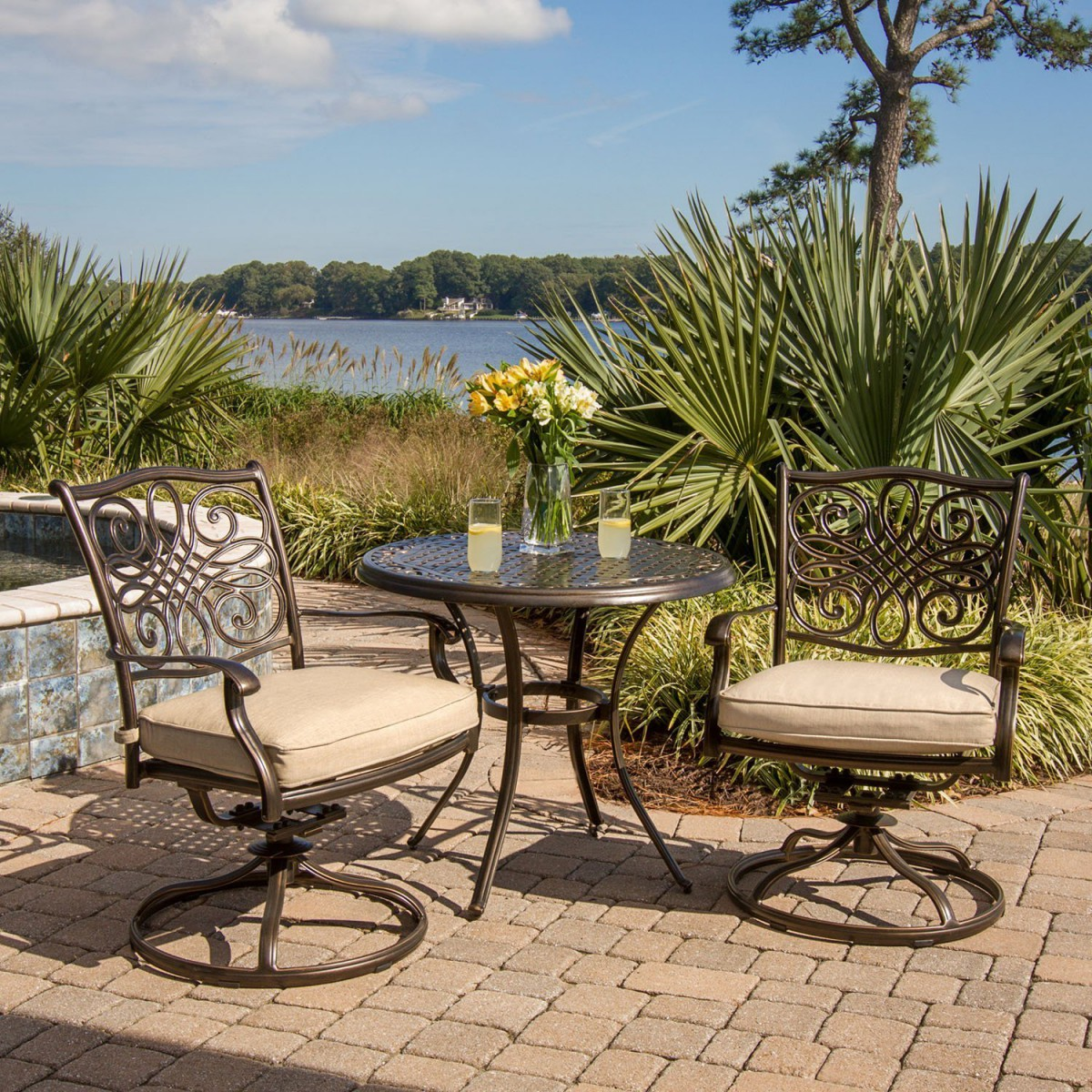 bistro set with swivel chairs define posture chair hanover traditions 3 piece outdoor