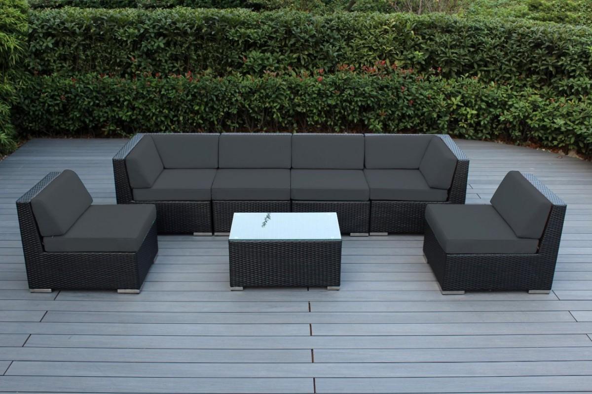 black outdoor sofa corner platform bed ohana collection 7pc sunbrella sectional set