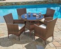Suncrown 5 Piece Wicker Outdoor Dining Set With 35""