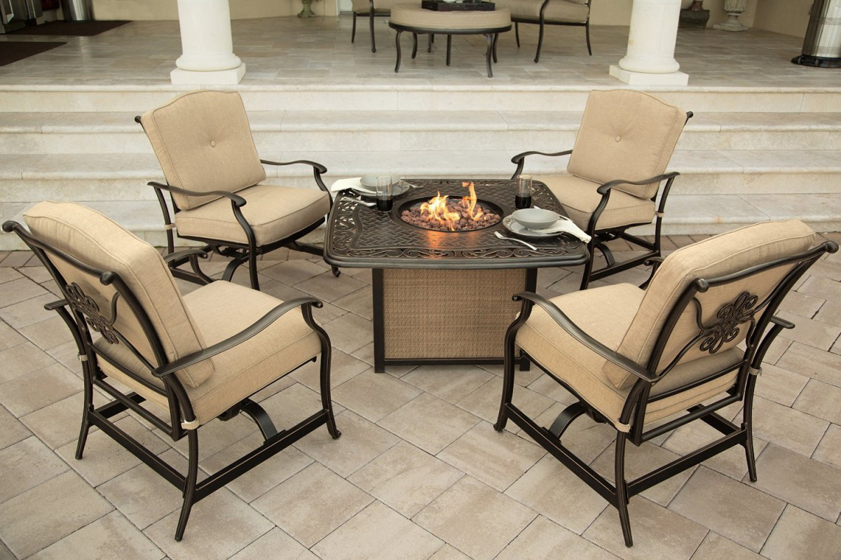 where to buy wicker chairs posture comfort chair den-tal-ez hanover traditions 5 piece outdoor fire pit table set