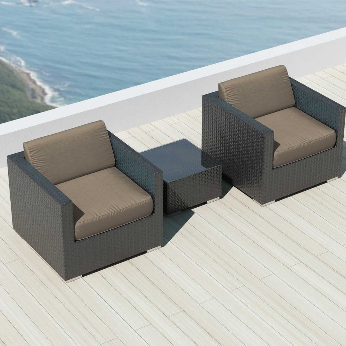 sofa beds with sunbrella fabric sectional corner bed luxxella bistro 3pc outdoor set