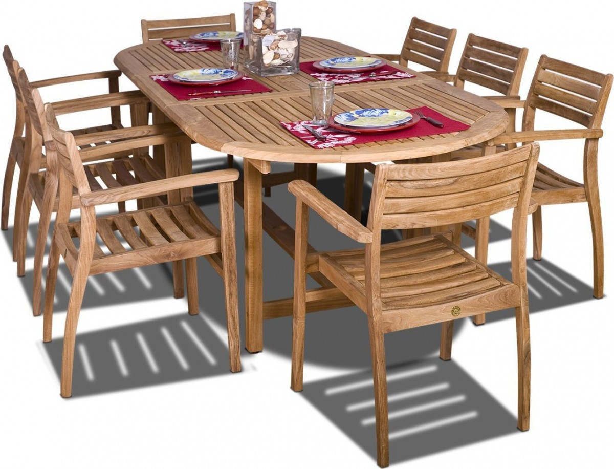 teak table and chairs garden chair stool amazonia coventry 9 piece oval outdoor dining