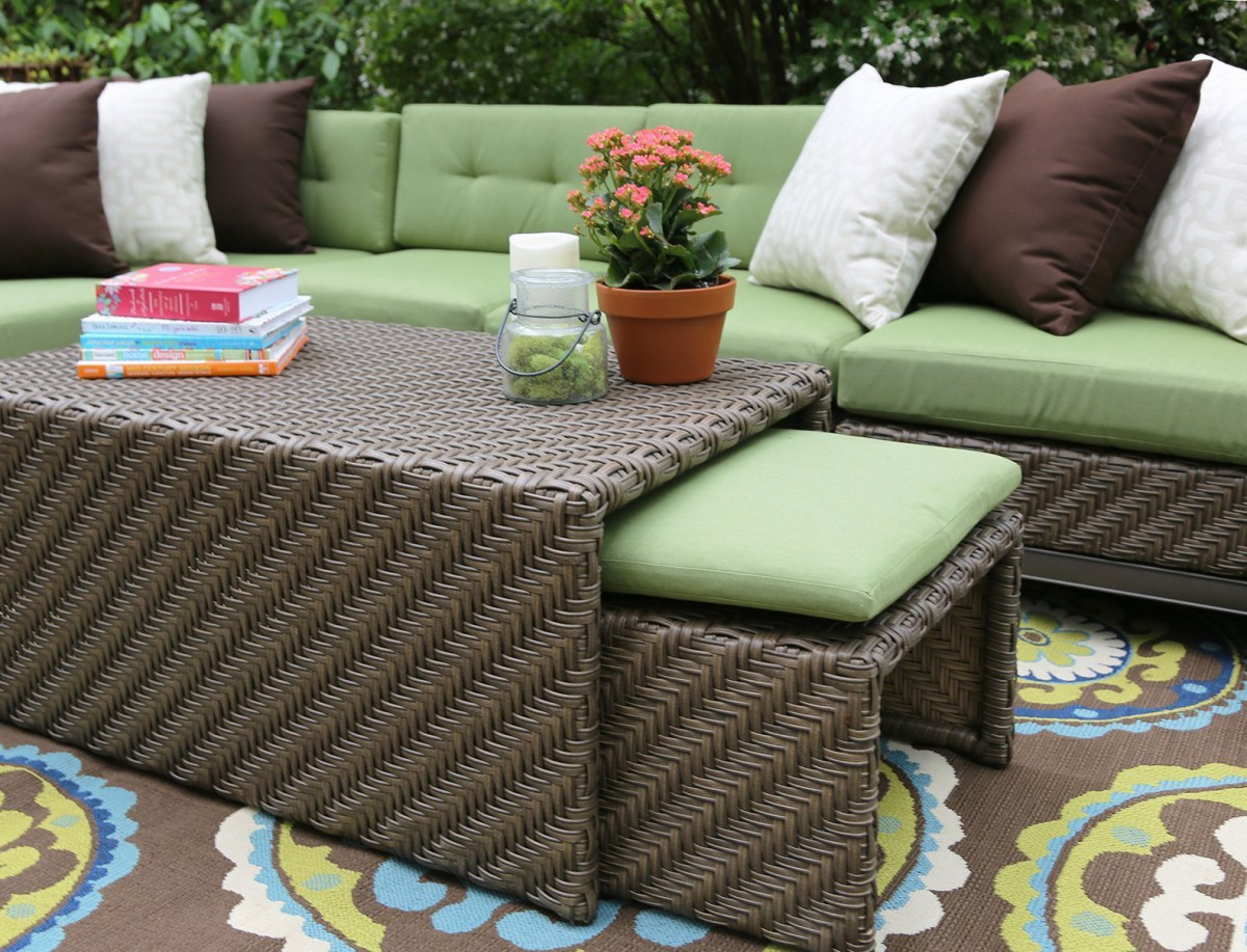sunbrella fabric sectional sofas ikea sofa bed orange ae outdoor hampton 8 piece set with