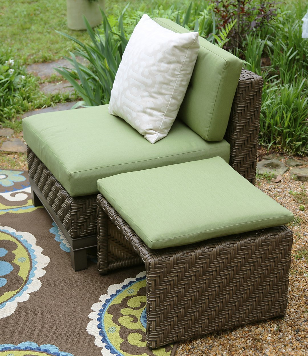 sofa beds with sunbrella fabric lazy boy laurel ae outdoor hampton 8 piece sectional set