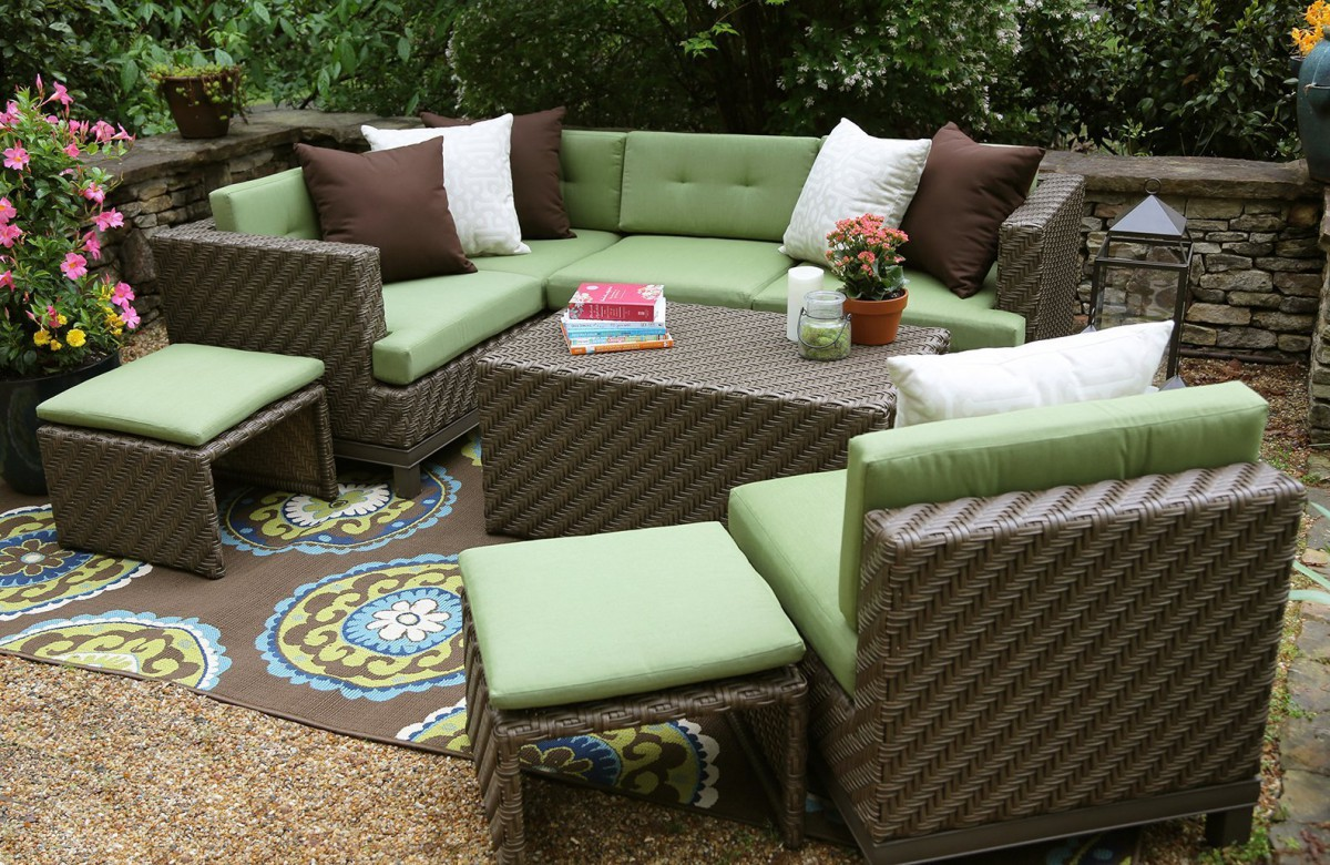 sofa beds with sunbrella fabric abbey ae outdoor hampton 8 piece sectional set