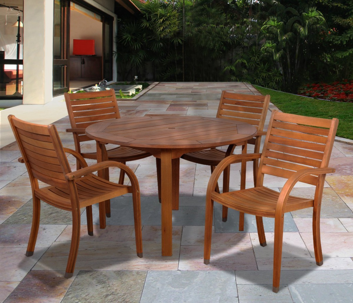 circle table and chair set ghost target amazonia arizona 5 piece wood outdoor dining with 47