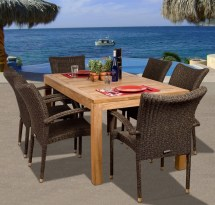 Outdoor Teak 7 Piece Dining Set