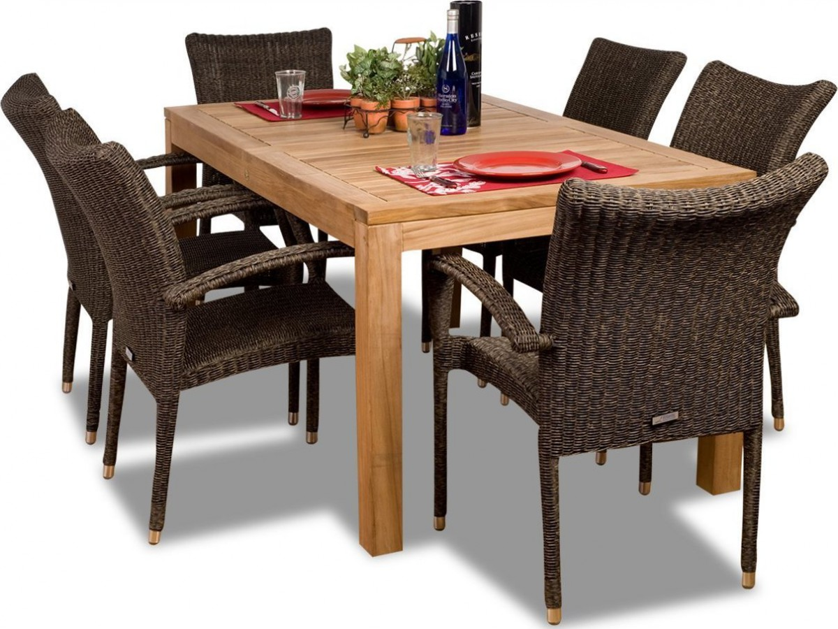 outdoor dining chairs stackable baby furniture chair amazonia teak brussels 7 piece set