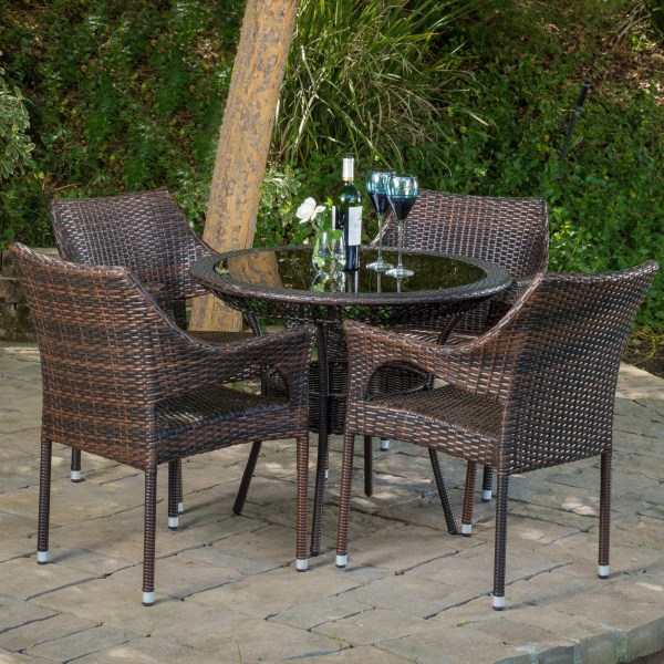 "round outdoor wicker patio furniture set Del Mar Wicker 5 Piece Outdoor Dining Set with 34"" Round Table and Stackable Chairs - Patio Table"