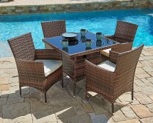 5 Piece Outdoor Wicker Dining Sets