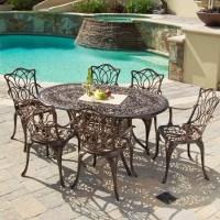 Gardena Cast Aluminum 7 Piece Outdoor Dining Set with Oval ...