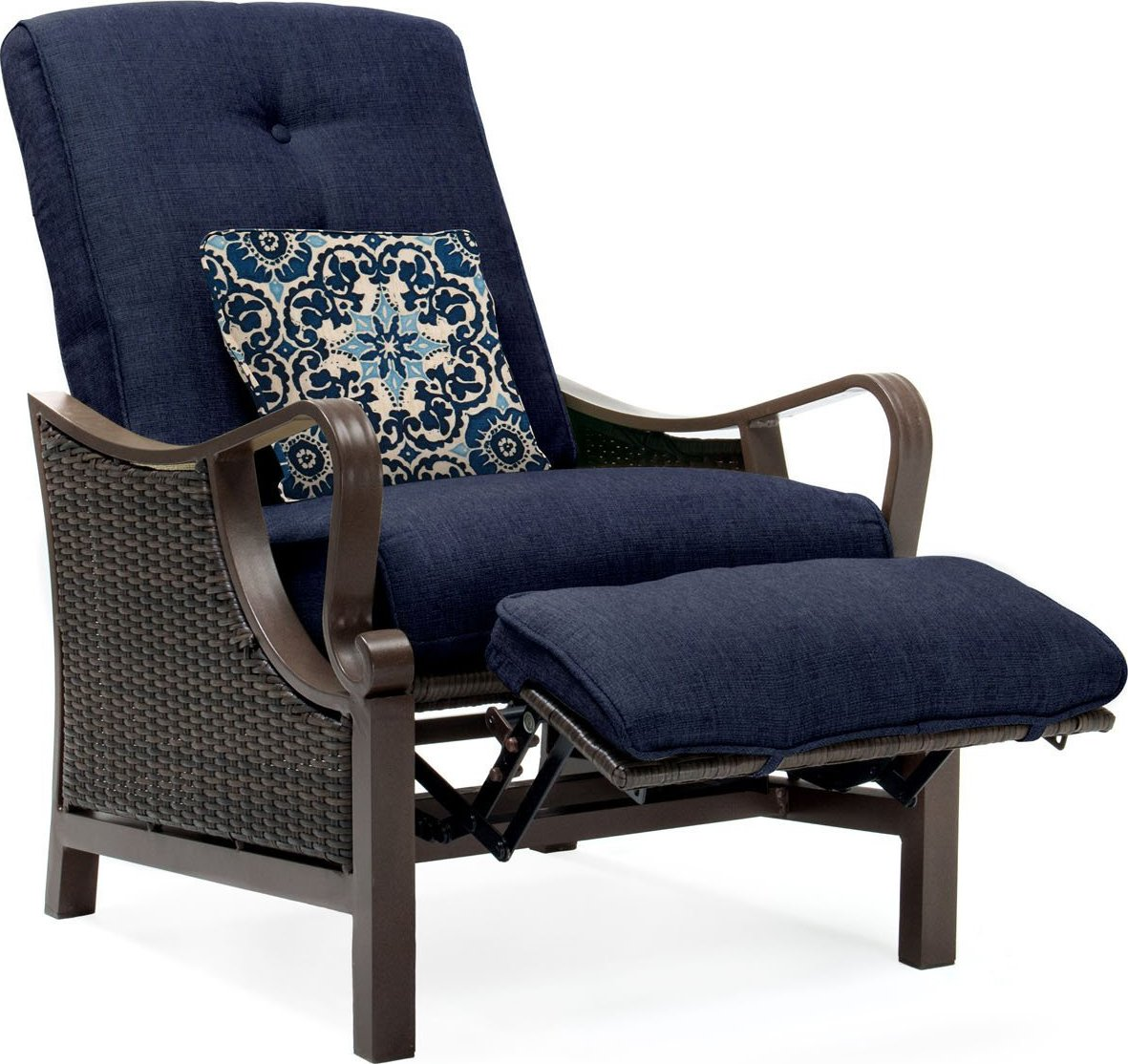 wicker reclining patio chair pottery barn kids bean bag hanover ventura luxury resin outdoor recliner