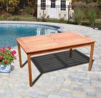 VIFAH V98 Outdoor Wood Rectangular Table with Natural Wood ...