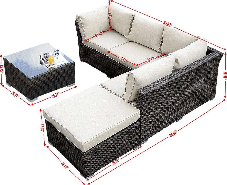 amazon sofa set convertible bed giantex 4pc wicker rattan outdoor sectional