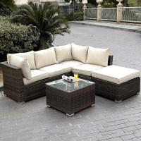 Giantex 4pc Wicker Rattan Outdoor Sectional Sofa Set