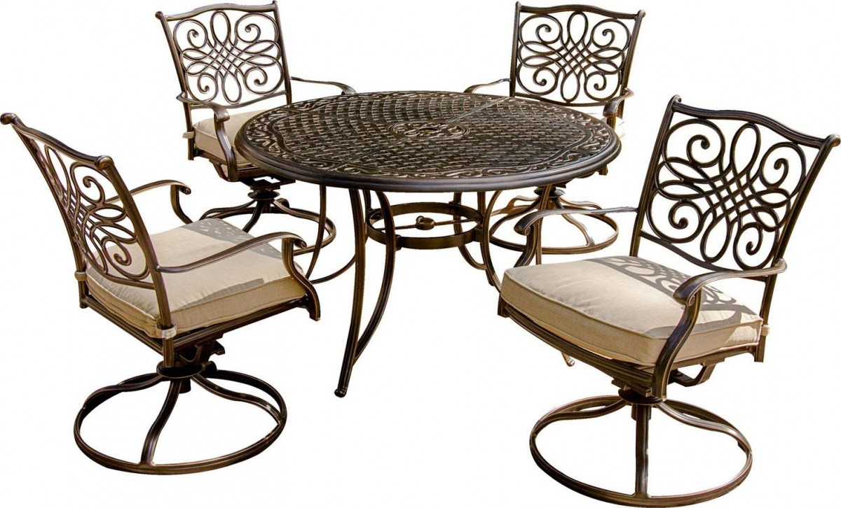 bistro set with swivel chairs 2017 gmc acadia captains hanover traditions 5-piece outdoor dining swivel-rocker - patio table
