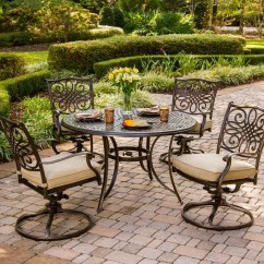 Swivel Rocker Outdoor Dining Chairs Black Room Chair Covers Hanover Traditions 5 Piece Set With