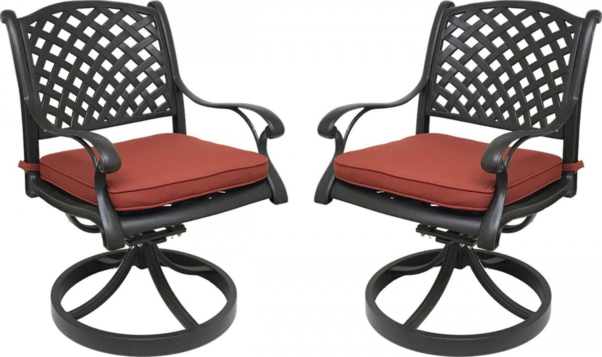 outdoor swivel rocker chair modern leather dining chairs with arms nevada cast aluminum sunbrella cushions