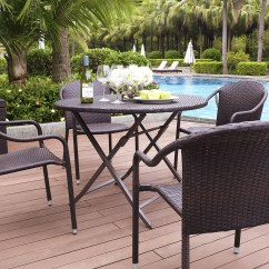 Outdoor Dining Chairs Stackable Double Reclining Chair Crosley Palm Harbor 5 Piece Set W