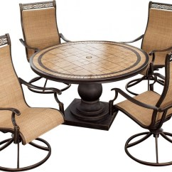 Swivel Rocker Outdoor Dining Chairs Brown Leather Executive Office Chair Hanover Monaco 5 Piece Set With High Back