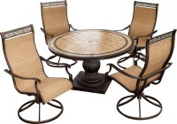 Hanover Monaco 5-Piece Outdoor Dining Set with High-Back ...