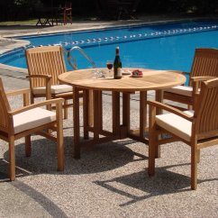 Teak Folding Chairs And Table Rattan Rocking Chair Wholesaleteak 5 Piece Grade A Dining Set With 48