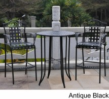 Wrought Iron Bistro Set With Bar Table And Two Barstools