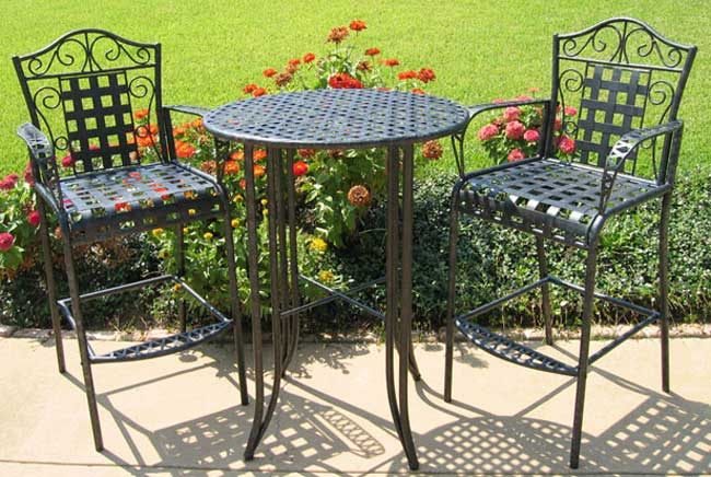 lexington sectional sofa italian singapore wrought iron bistro set with bar table and two barstools ...