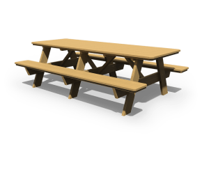 3' x 8' Picnic Table with Benches Attached in the golden oak stain.