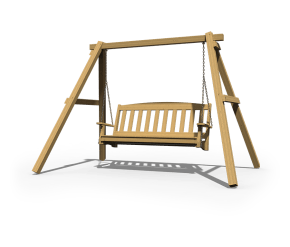 Notched Swing A-Frame with 5' English Garden Swing in golden oak stain.