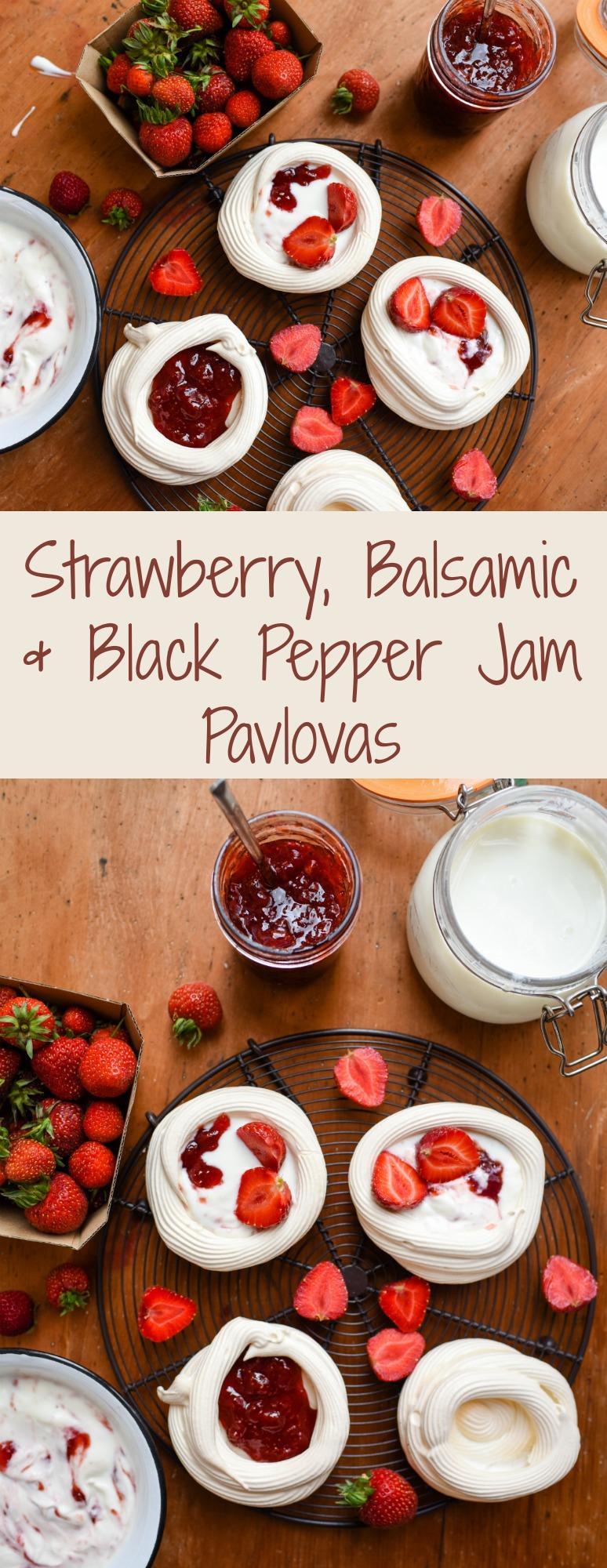 Strawberry, balsamic & black pepper jam pavlova | Patisserie Makes Perfect