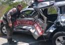 PM fica preso às ferragens após colisão entre viatura e carro-pipa no Vale do Piancó
