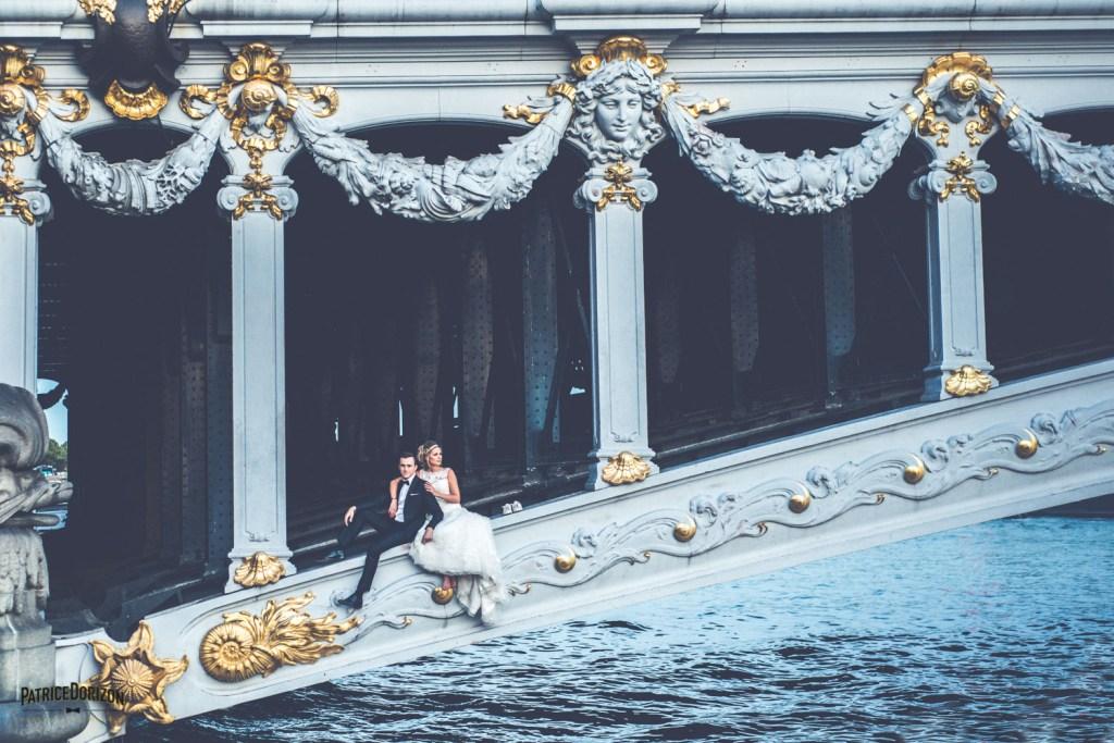 mariage paris couple pont