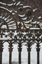 snow on the garden gate