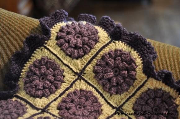purple crocheted afghan