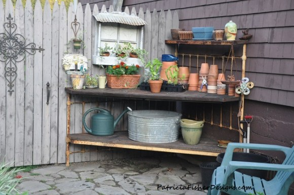 potting bench from iron bed