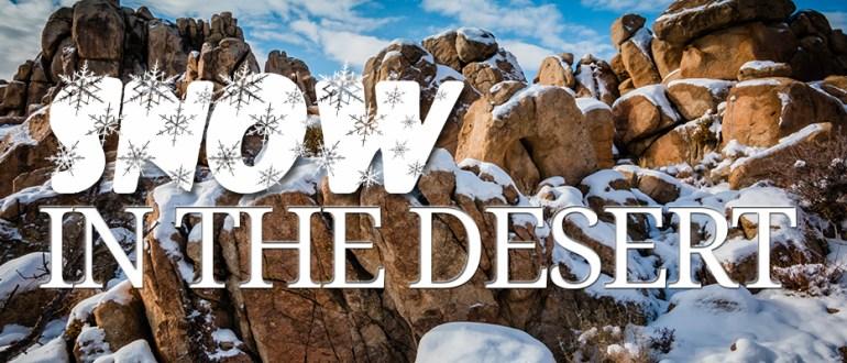 snow covered boulder in the desert